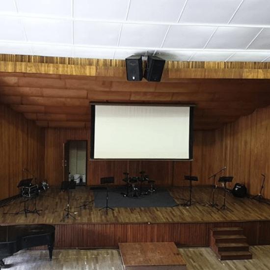 church, screen, auditorium