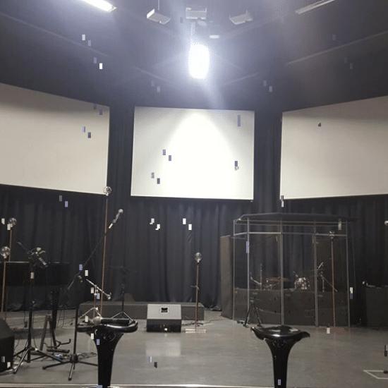 church, electric screens