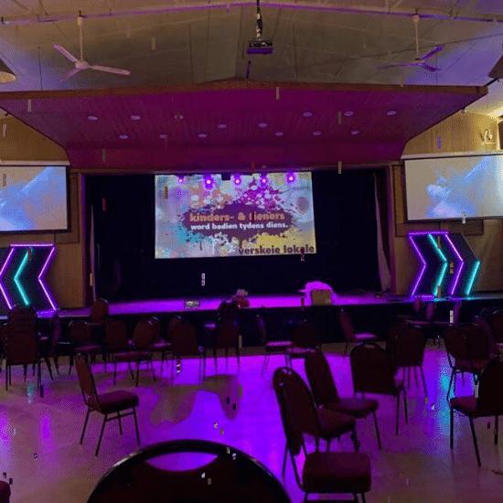 church, electric screen
